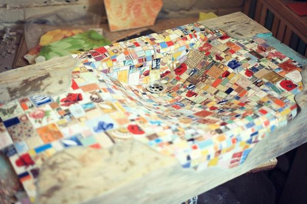 Mosaik Holzspüle kiefer einbauen
