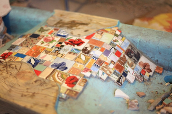 Mosaik waschbecken holz innovativ idee