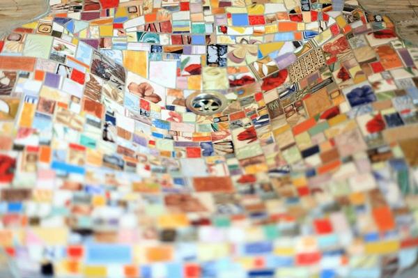 Mosaik waschbecken holz kiefer Holzspüle vielfalt bunt