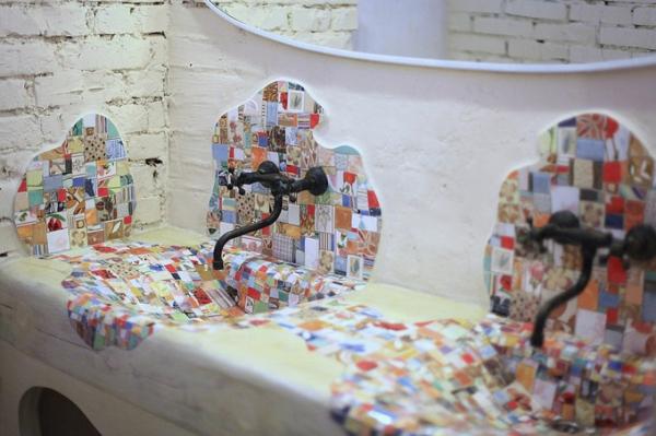 Mosaik Holzspüle waschküche