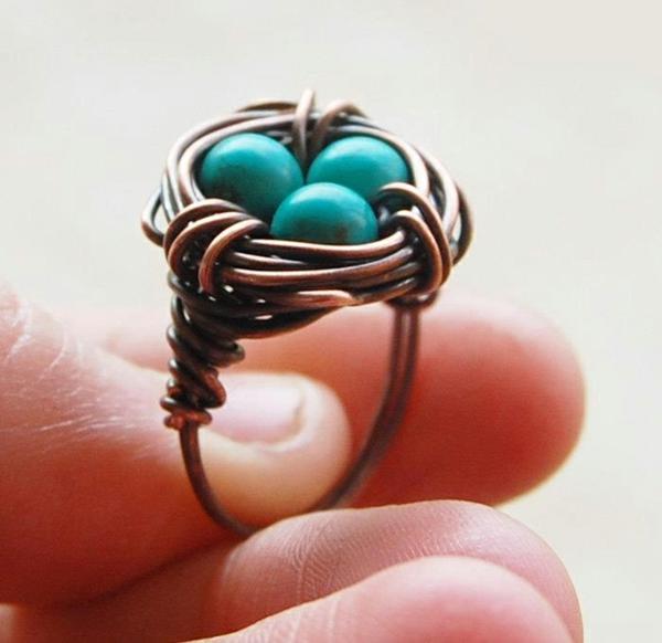 оriginelle Geschenkideen für Freundin geschenk beste freundin fingerring vogelnest