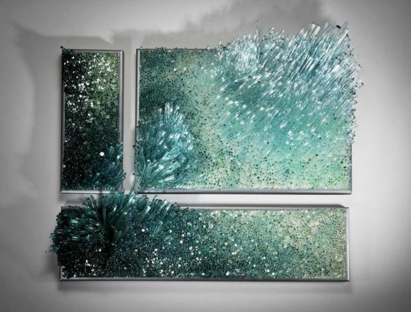 Shayna Leib Wanddekor türkis Glas blau weiß