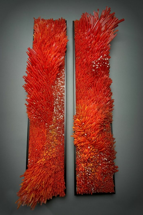 Shayna Leib Wanddekor Glas rot stücke