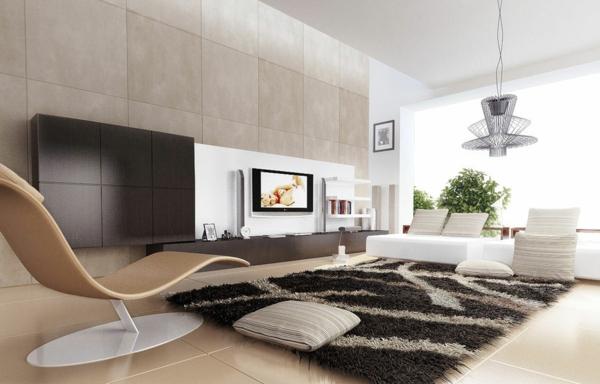 moderner teppich lounge leder fellteppich