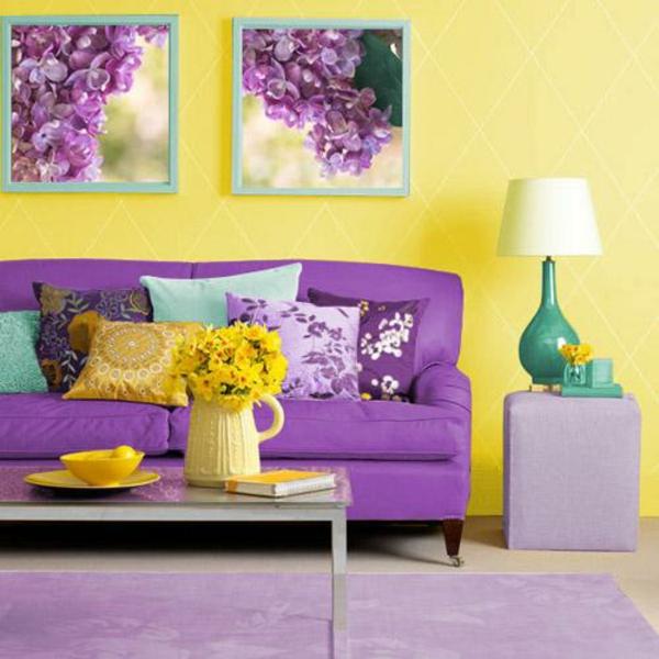 Wandfarben kombinieren komplementärfarben gelb lila