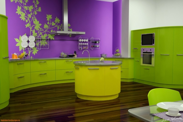 Wandfarben küche kombinieren komplementärfarben grün lila