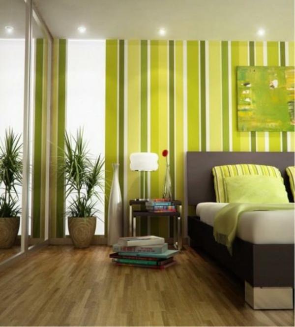 Wandfarben kombinieren komplementärfarben grün streifen