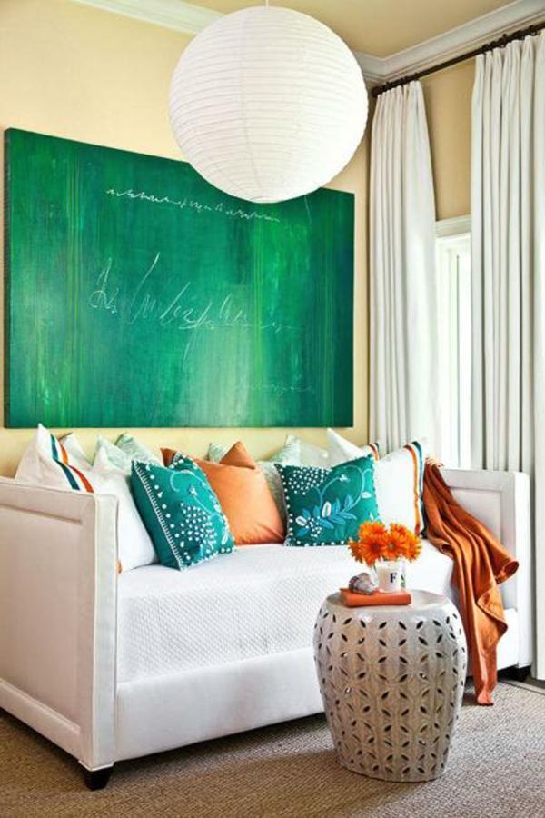 Wandfarben kombinieren komplementärfarben grün