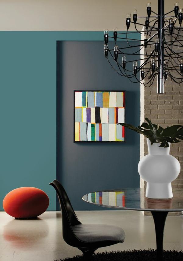 Wandfarben kronleuchter kombinieren komplementärfarben kunterbunt