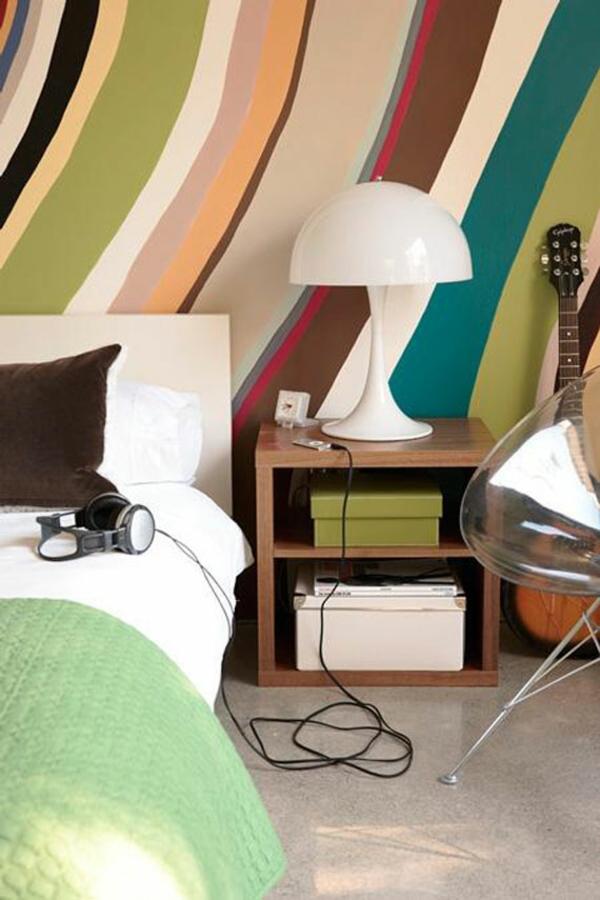 Wandfarben komplementärfarben linien schlafzimmer