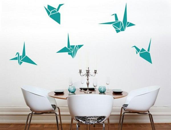 Wandfarben kombinieren komplementärfarben origami vogel