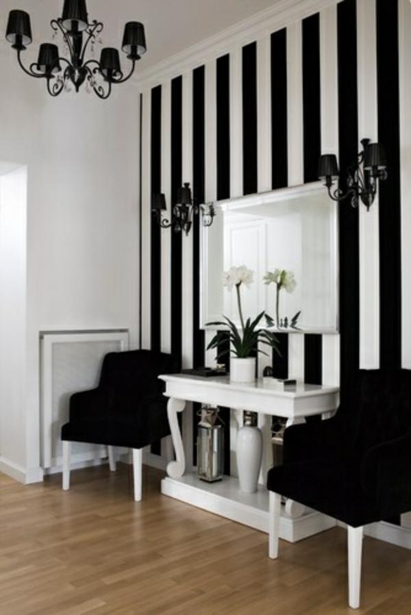 Wandfarben streifen kombinieren komplementärfarben schwarz