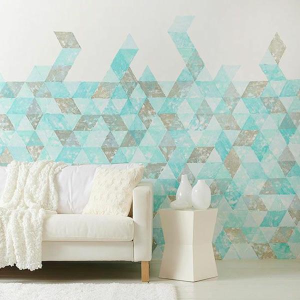 Wandfarben figuren kombinieren komplementärfarben sofa
