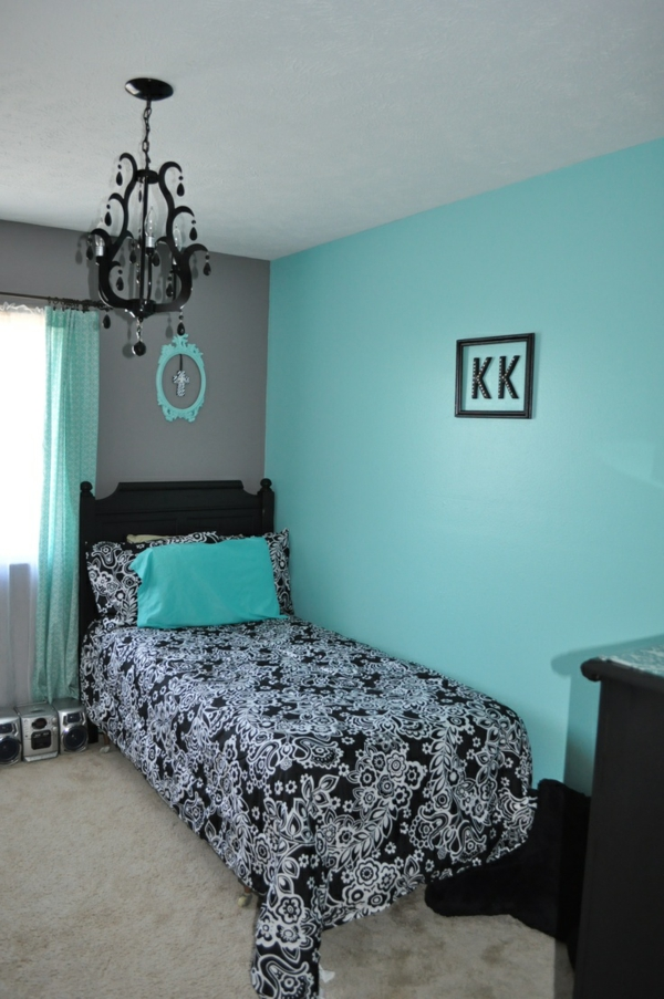 Wie kann man die wandfarben kombinieren sch ne for Black and white and turquoise bedroom ideas