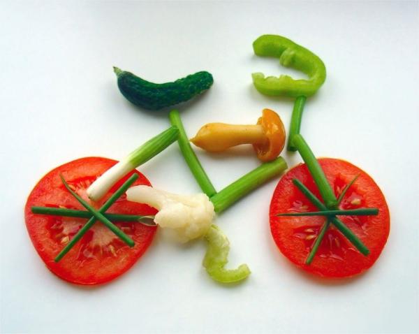 fahrrad bewegung sport treiben frisch gemüse