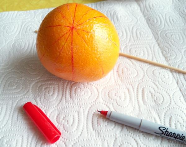Weihnachtsschmuck basteln orangen zu weihnachten