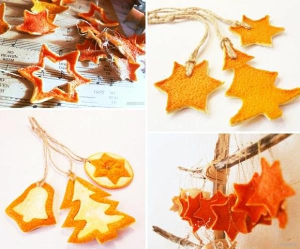 Weihnachtsschmuck basteln orangenschalen sternen und tannen