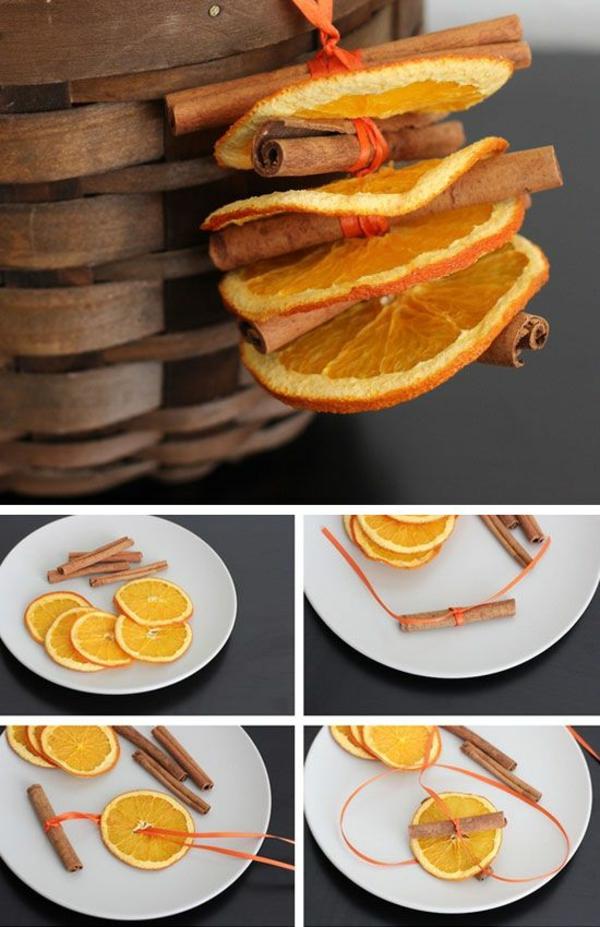 Weihnachtsschmuck basteln trockene orangenscheiben zimtstäbchen