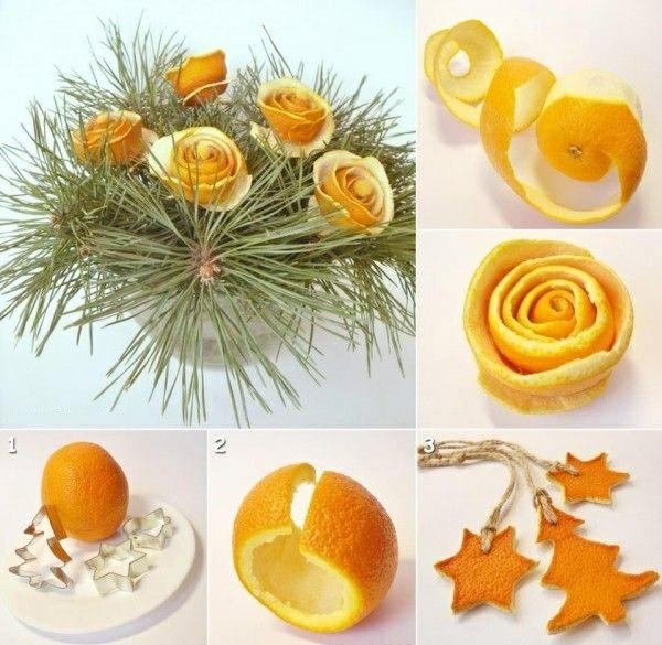Weihnachtsschmuck basteln weihnachtsdeko mit orangenschalen
