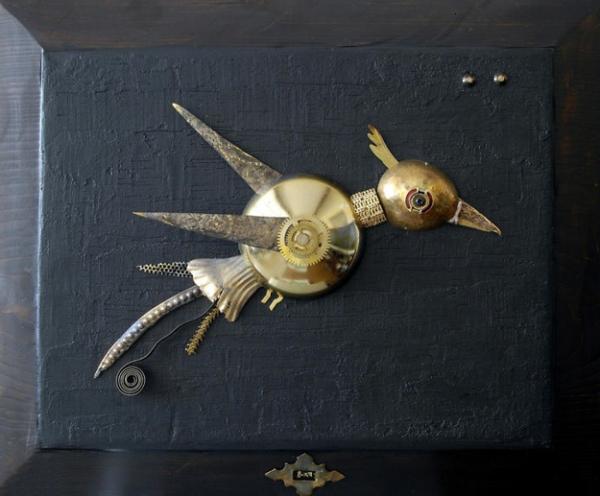 alt metall bild vogel