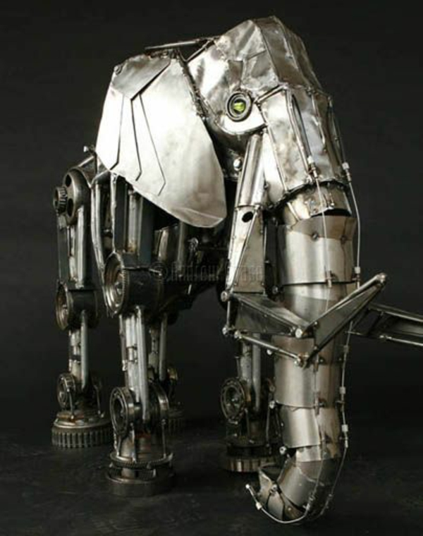 alt metall elefanten skulptur