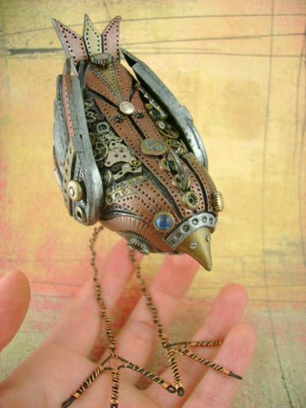 alt metall filigraner vogel skulptur