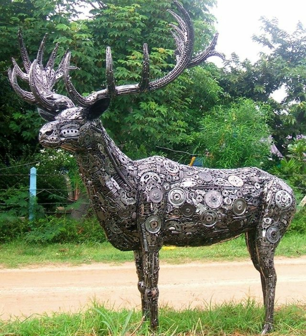 alt metall rothirsch skulptur