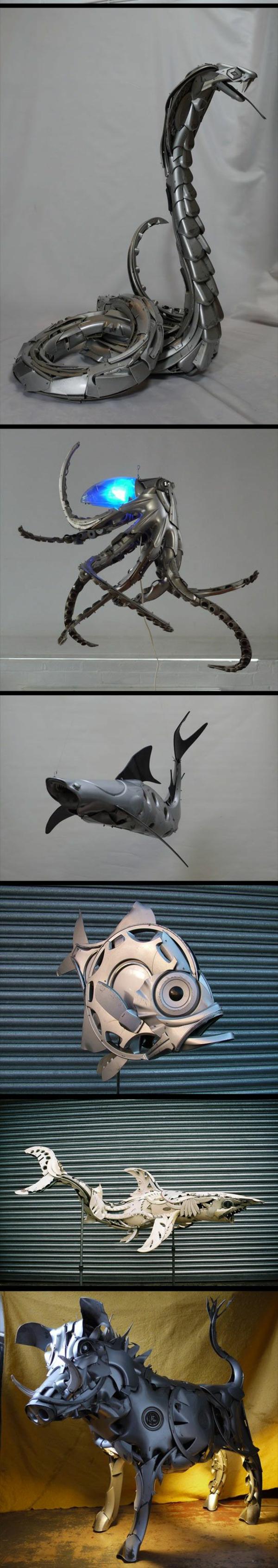 alt metall skulpturen kreaturen