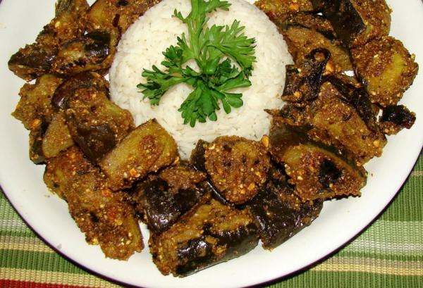 auberginen zubereiten gebacken reis