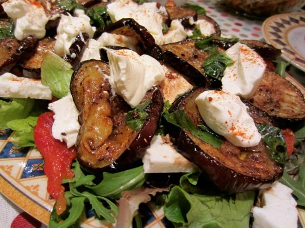 auberginen zubereiten gebraten joghurt salat