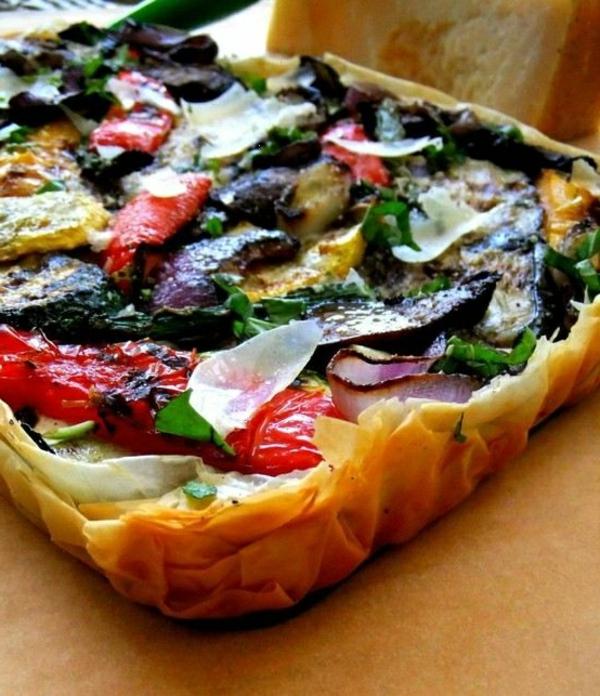auberginen zubereiten gemüse pizza
