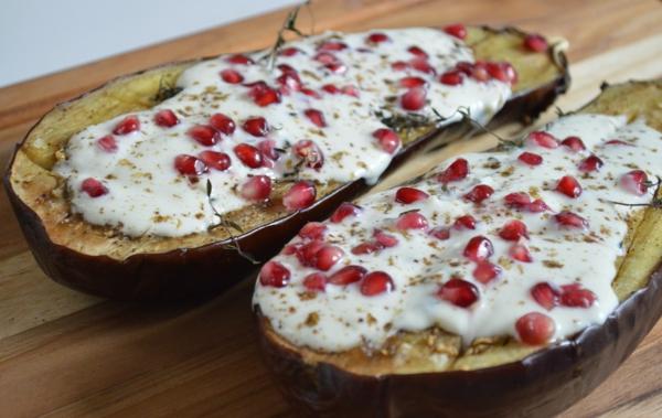 auberginen zubereiten granatapfel sahne