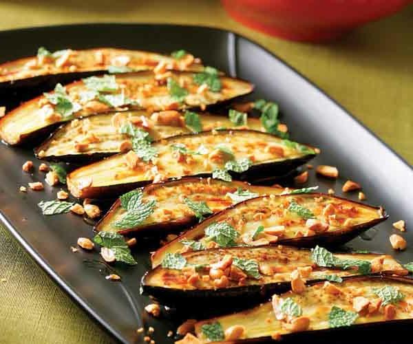 auberginen zubereiten nüsse minze