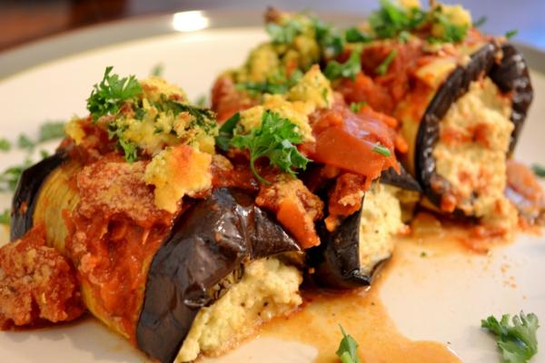 auberginen zubereiten vegane rollos