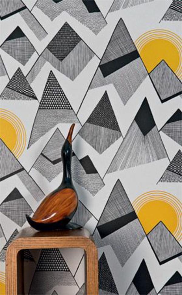 ausgefallene tapeten geometrisch formen gelb grau