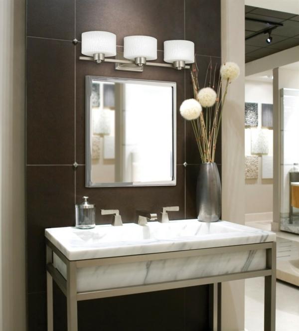badezimmerlampen dreier set marmor waschtisch