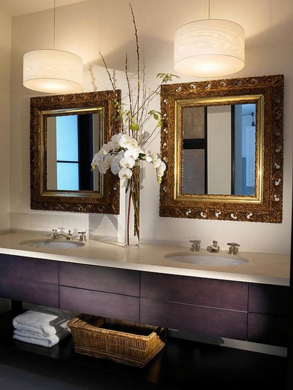 badezimmerlampen waschtisch lila zweispiegel hängeleuchten