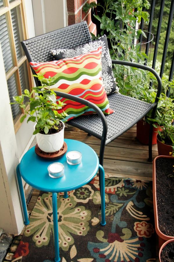 balkon gestaltung ideen pvc stuhl runder beistelltisch