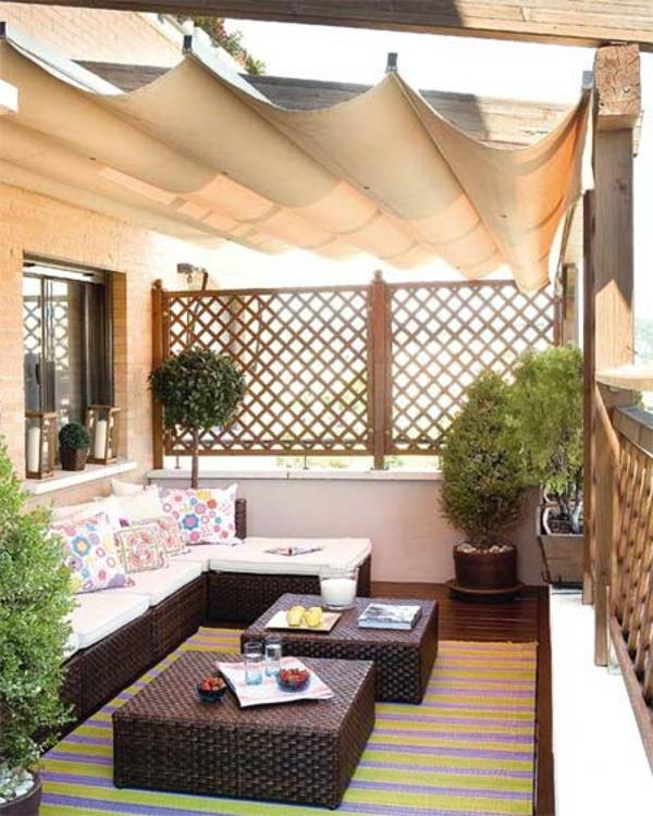balkon gestaltung ideen rattanmöbel sichtschutz