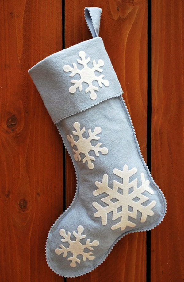bastelideen für weihnachten nikolausstiefel nähen aus filz schneeflocken