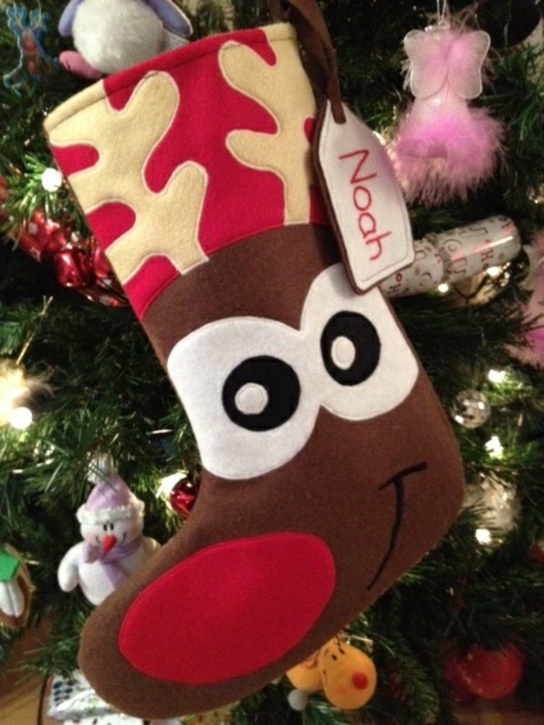 bastelideen für weihnachten nikolausstiefel nähen aus filz weihnachtshirsch