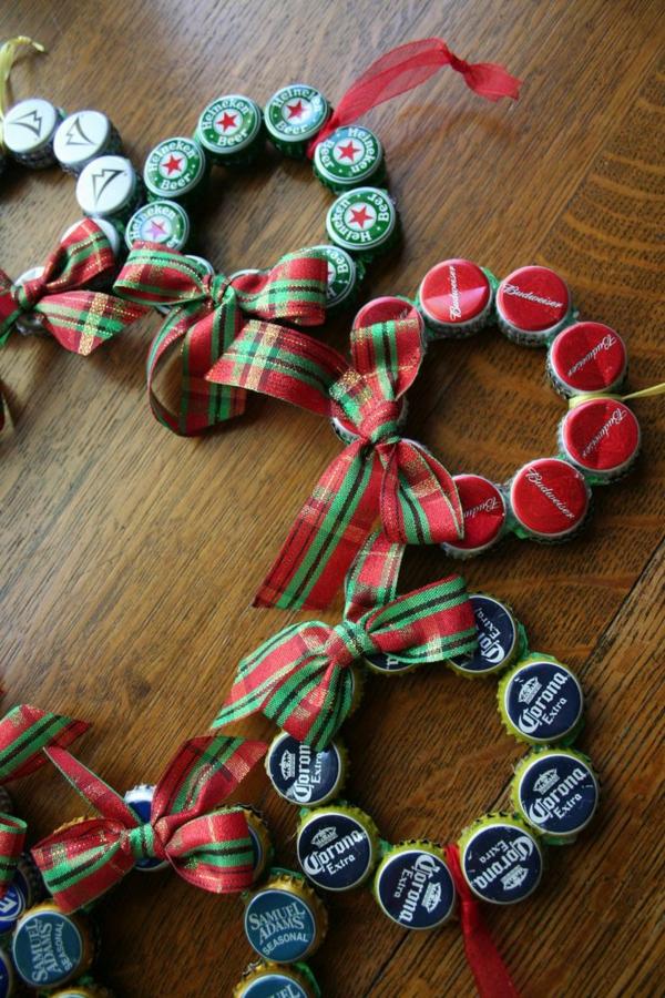 basteltipps weihnachten weihnachtsbaumschmuck ideen bierdeckel