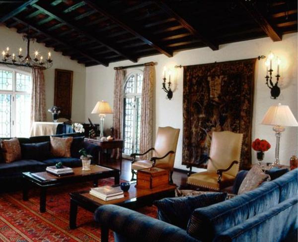 couchtisch kolonial dunkelblaue sofas samt