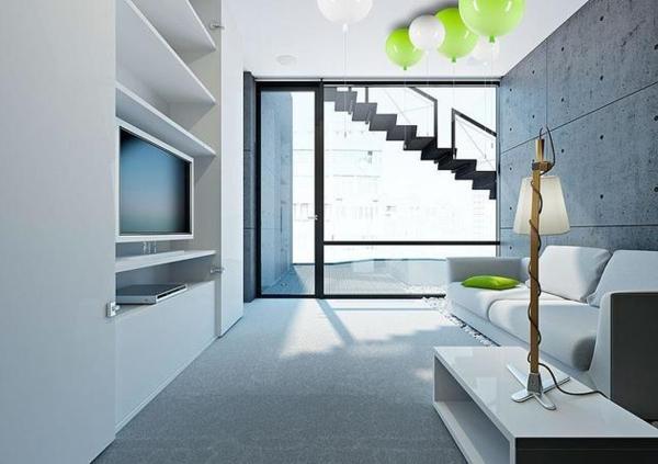 deckenleuchte helium ballon minimalistisches interieur