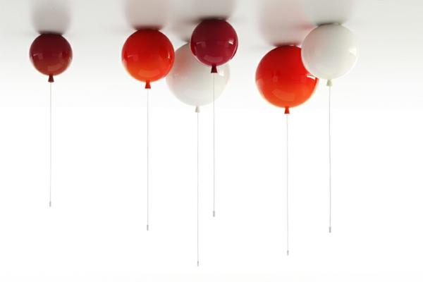 deckenleuchte helium ballon rot weiß