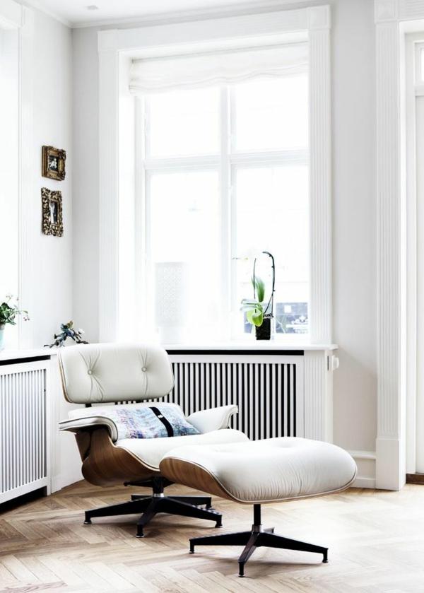 designer sessel Charles Eames Lounge Chair ledersessel weiß
