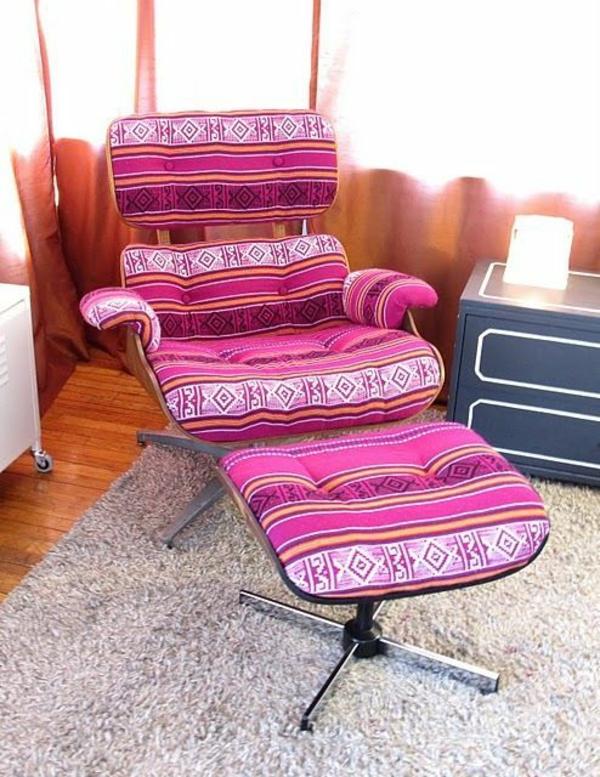 designer sessel Eames Lounge Chair farbig gemustert