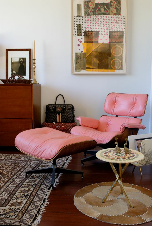 designer sessel Eames Lounge Chair rosa
