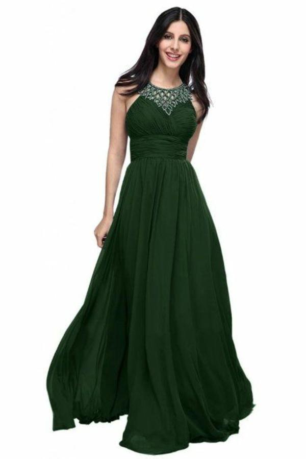 dunkel grün design kleid