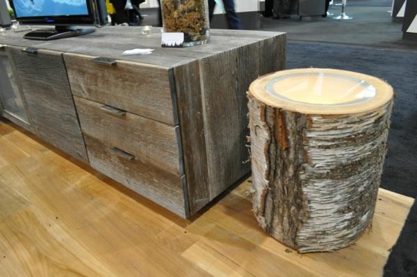 naturholzmöbel beistelltisch baumstumpf
